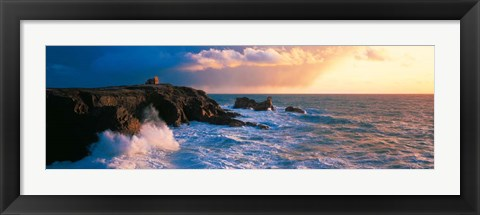 Framed Stormy Weather on Quiberon Coast, Morbihan, Brittany, France Print