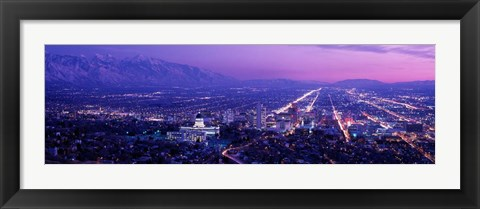 Framed Salt Lake City at Night, Utah Print