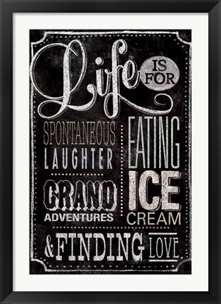 Framed Chalkboard - Meaning Of Life Color Print