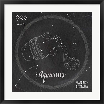 Framed Night Sky Aquarius Print