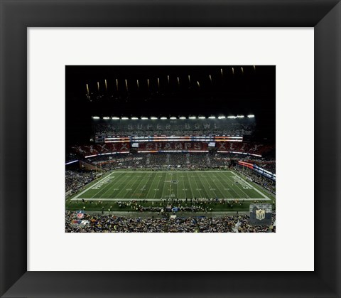 Framed New England Patriots unveil the Super Bowl XLIX championship banner at Gillette Stadium 2015 Print