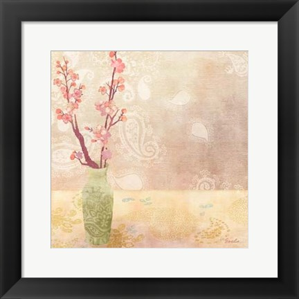 Framed Vase of Cherry Blossoms I Print