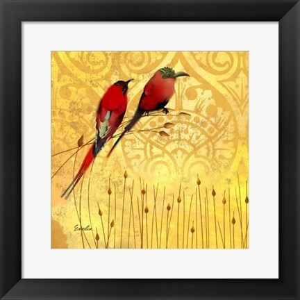 Framed Wren on Yellow II Print