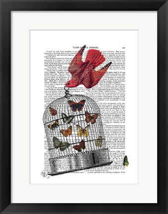 Framed Flying Birdcage Print