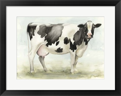 Framed Watercolor Cow I Print
