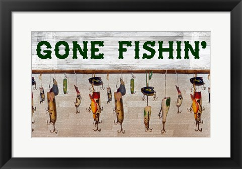 Framed Gone Fishin' Wood Fishing Lure Sign Print