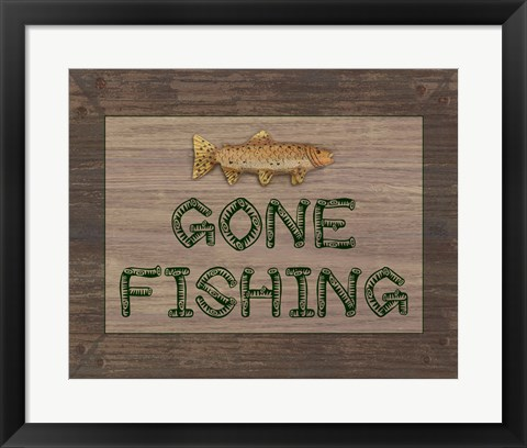 Framed Gone Fishing Sign Print