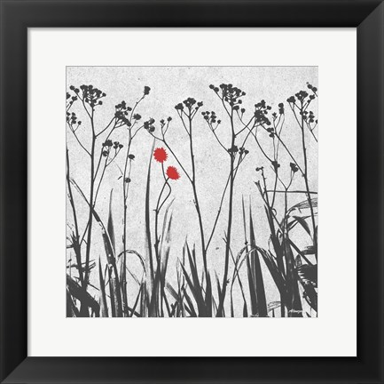 Framed Crimson Ink Plants Print