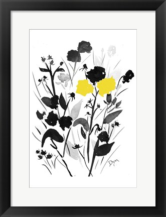 Framed Yellow Silouette I Print