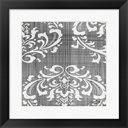 Framed Charcoal Damask 2 Print