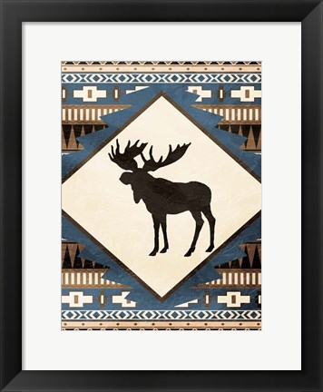 Framed Moose Pattern Print