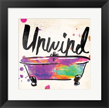 Framed Unwind Colorful Bath Print
