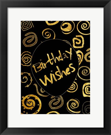 Framed Golden Birthday Wishes Print