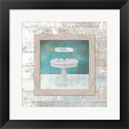 Framed Framed Aqua Bath Sink Print