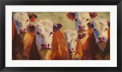 Framed Party of Five Herefords Print