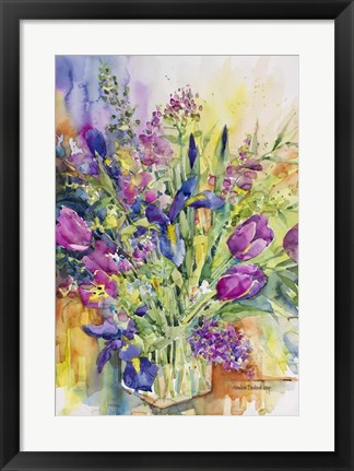 Framed Iris Blue And Tulips Too Print