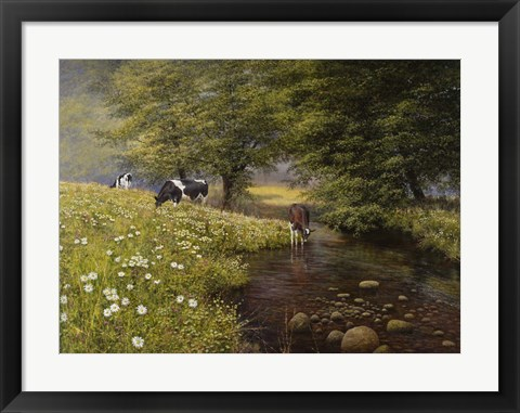 Framed Cattle By The Stream Print