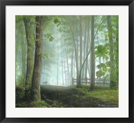 Framed Misty Morning Visitor Print