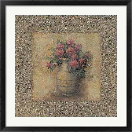 Framed Red Flowers In Vase Print