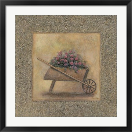 Framed Flowers In A Wheelbarrow Print