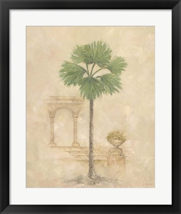 Framed Palm With Architecture 2 Print