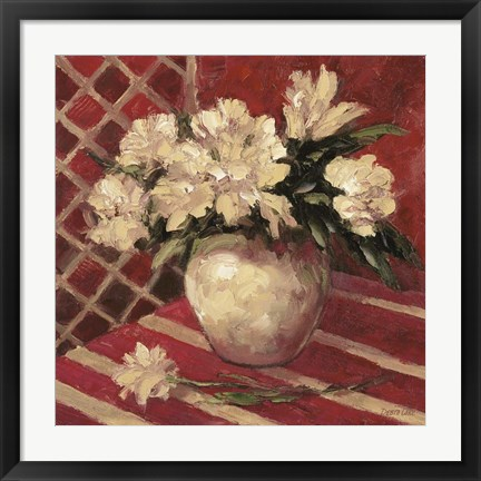 Framed Peonies In Vase Print