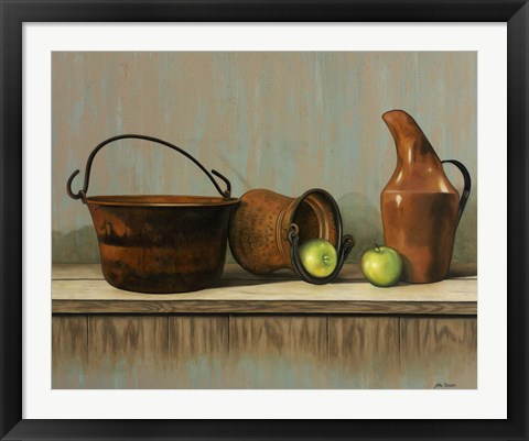 Framed Rustic Cooking Pots Print