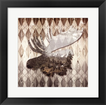 Framed Wild Nature Moose Print