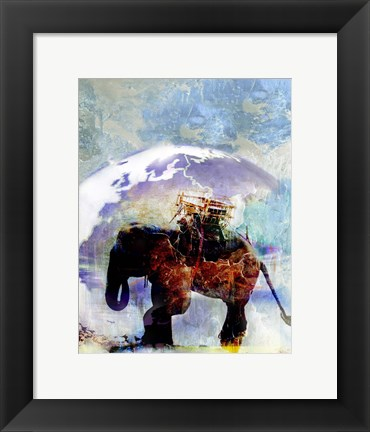 Framed Multi Colored Elephant Poster Print