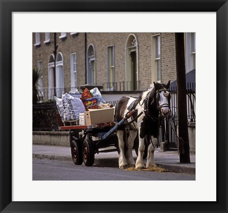 Framed Horse and Cart Full of Supplies Print