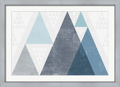 Framed Mod Triangles I Blue Print