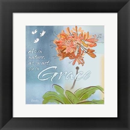 Framed Blue Floral Inspiration III Print