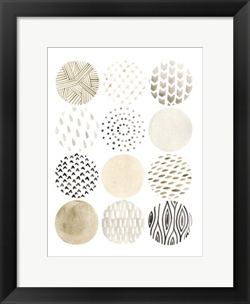 Framed Neutral Pattern Play I Print