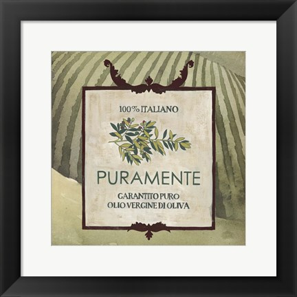 Framed Olive Oil Labels III Print