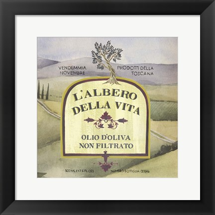 Framed Olive Oil Labels IV Print