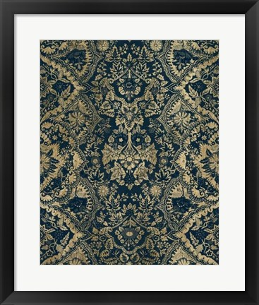 Framed Baroque Tapestry in Aged Indigo II Print