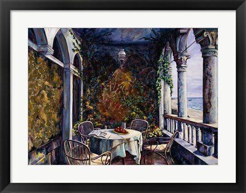 Framed Dining By The Sea Print