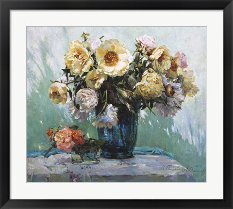 Framed Yellow Peonies Print