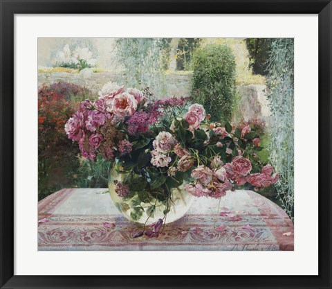 Framed Still Life in Pink Print