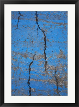 Framed Blue Painted Cement Walk Way Print