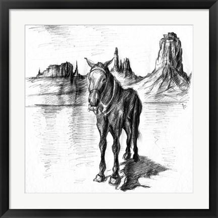 Framed Lonely Mule Print