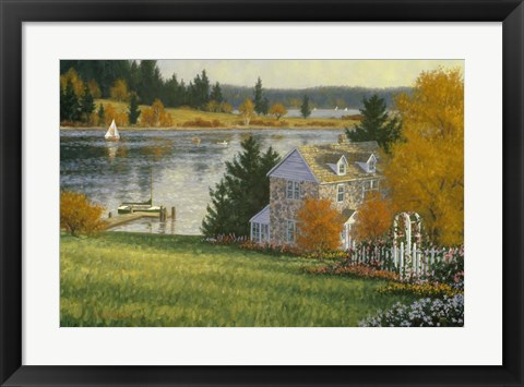 Framed Autumn Lake House Print