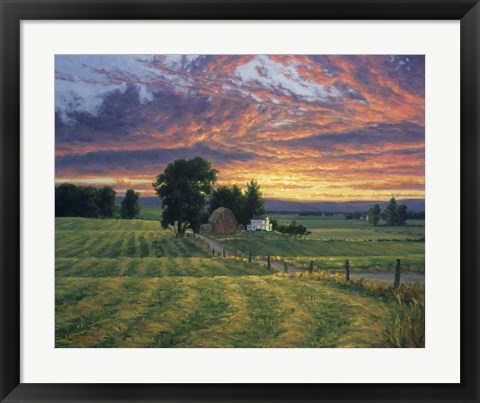 Framed Farm Sunset Print
