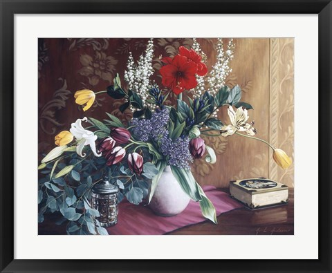 Framed Evening Bouquet With Toffee Box Print