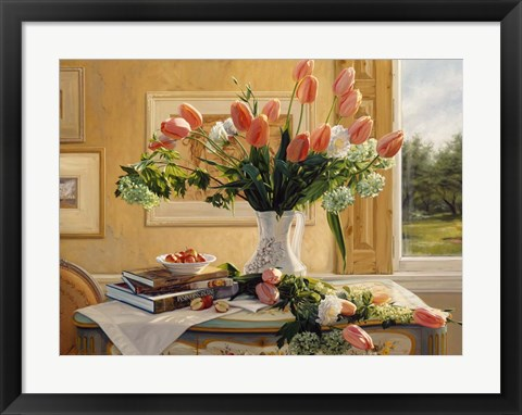 Framed French Tulips and Crab Apples Print