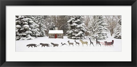 Framed Sleigh in the Snow, Farmington Hills, Michigan 09 Print
