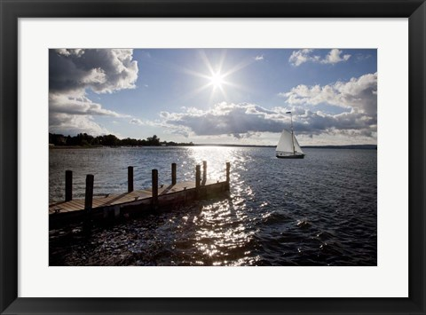 Framed Sunrise At Crooked Lake Print