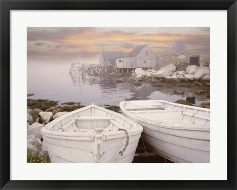 Framed Two Boats at Sunrise, Nova Scotia 11 Print