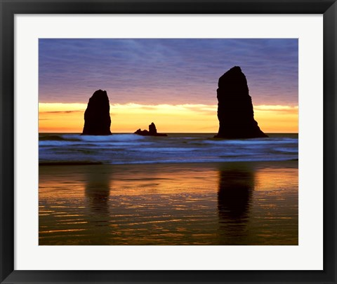 Framed Canyon Beach Sunset, Cannon Beach, Oregon 02 Print
