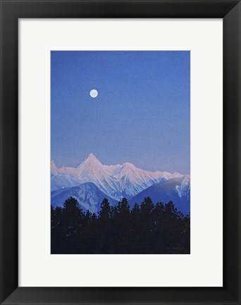 Framed Alpenglow Moon Print